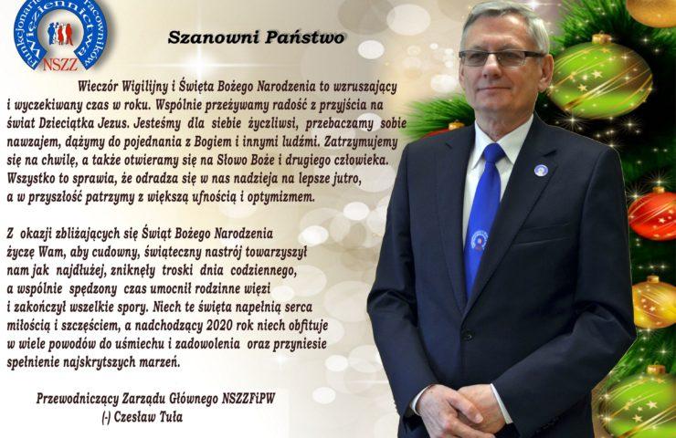Życzenia Świąteczne Przewodniczącego Zarządu Głównego NSZZFiPW