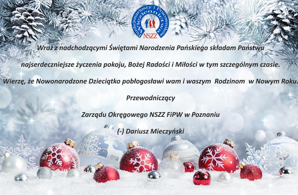 Życzenia Zarząd Okręgowy NSZZ FiPW w Poznaniu