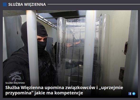 """Media o stanowisku Zarządu Głównego – Służba Więzienna upomina związkowców i """"uprzejmie przypomina"""" jakie ma kompetencje"""