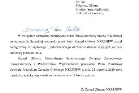 Uchwała Prezydium Zarządu Głównego NSZZFiPW skierowana do Ministra Sprawiedliwości.